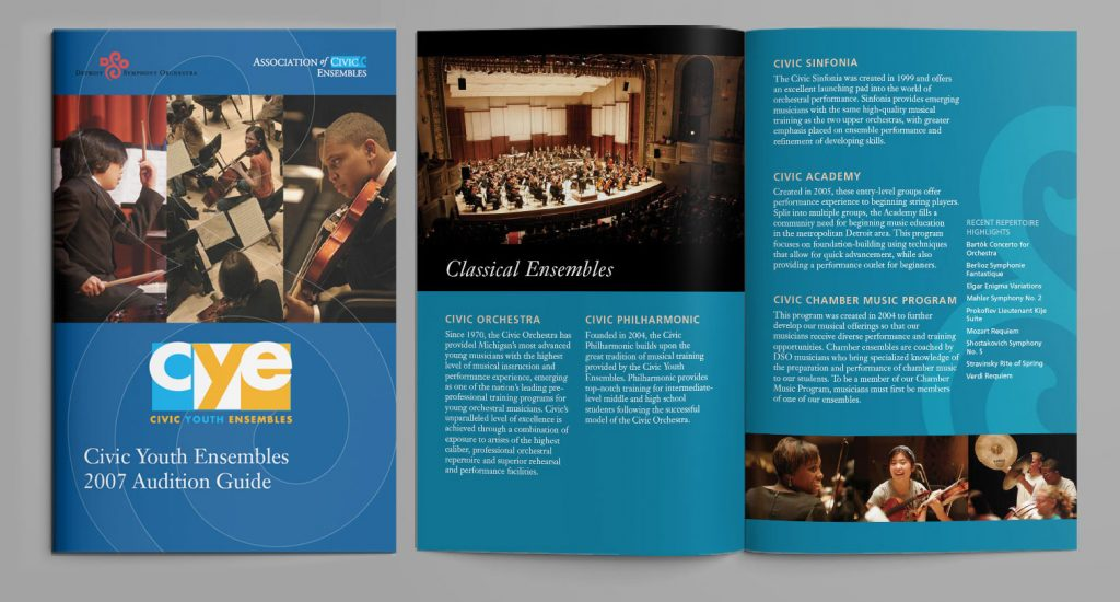 cover and inside spread featuring photos of young people playing instruments and descriptions of classical bands