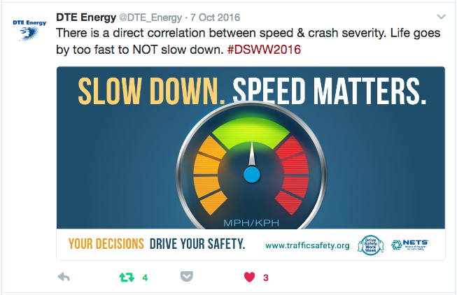 DTE tweet of a Slow Down. Speed Matters. graphic