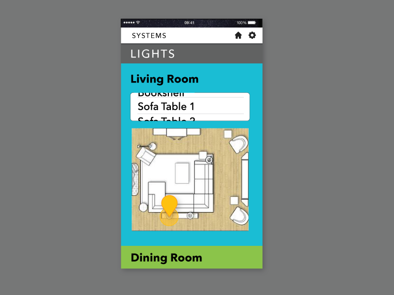 mobile app screen with icon showing location of lamp that is on.
