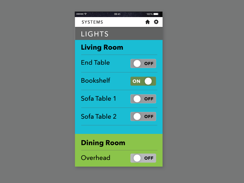 mobile app screen with list of lights and on/off switch.