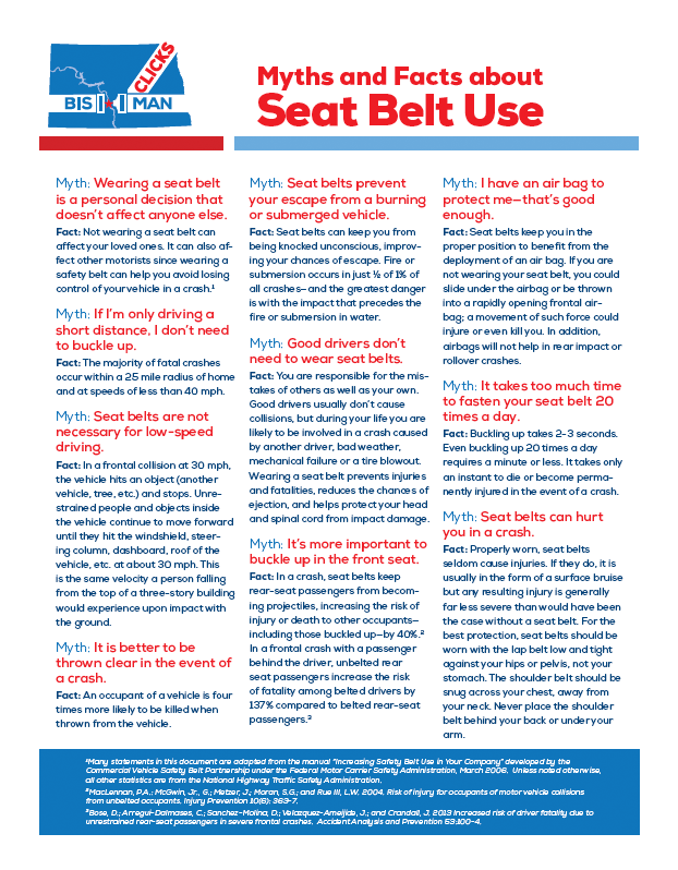 3 column sheet with facts and myths on seat belt use