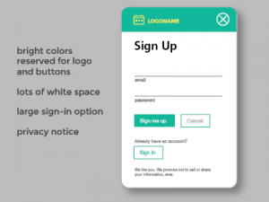 simple sign up screen