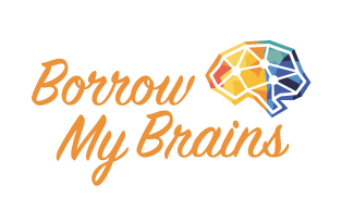 borrow my brains text with icon of faceted brain next to