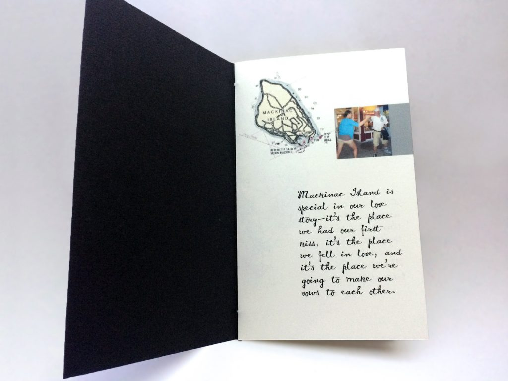 page with story, vintage map, and photo of the couple