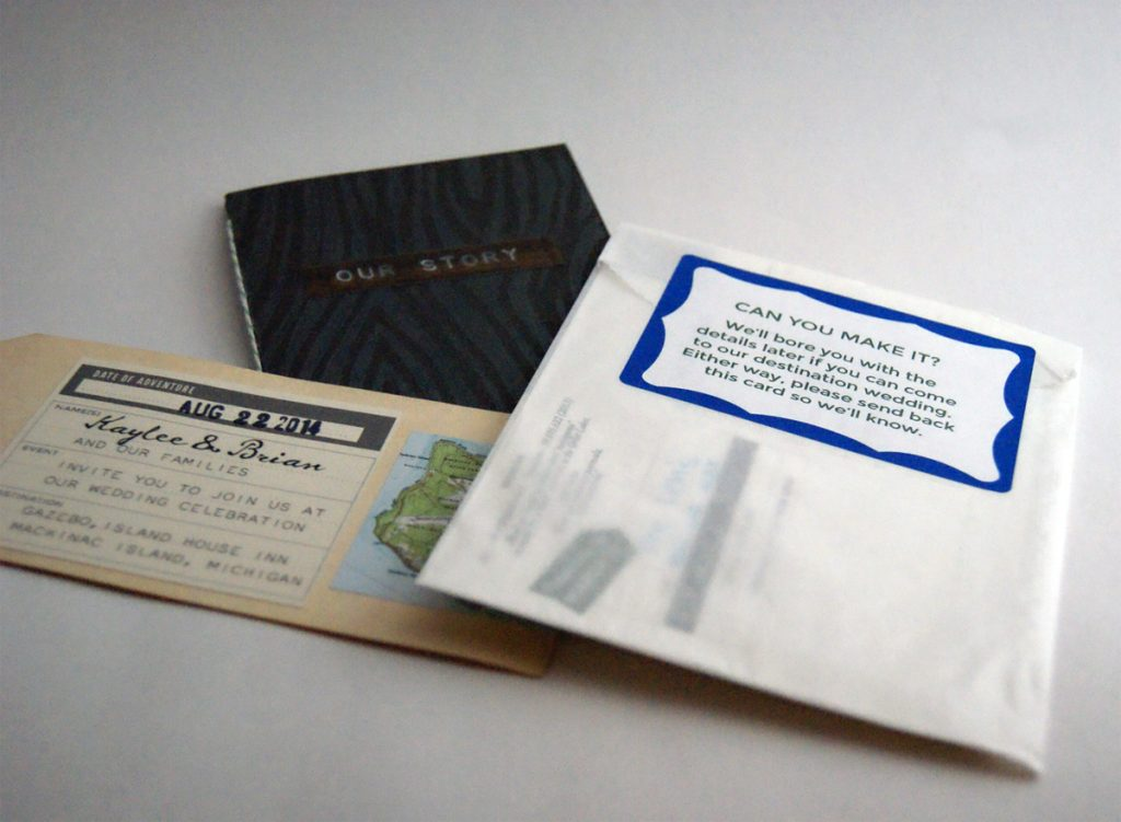 invite package pieces layered on plain background