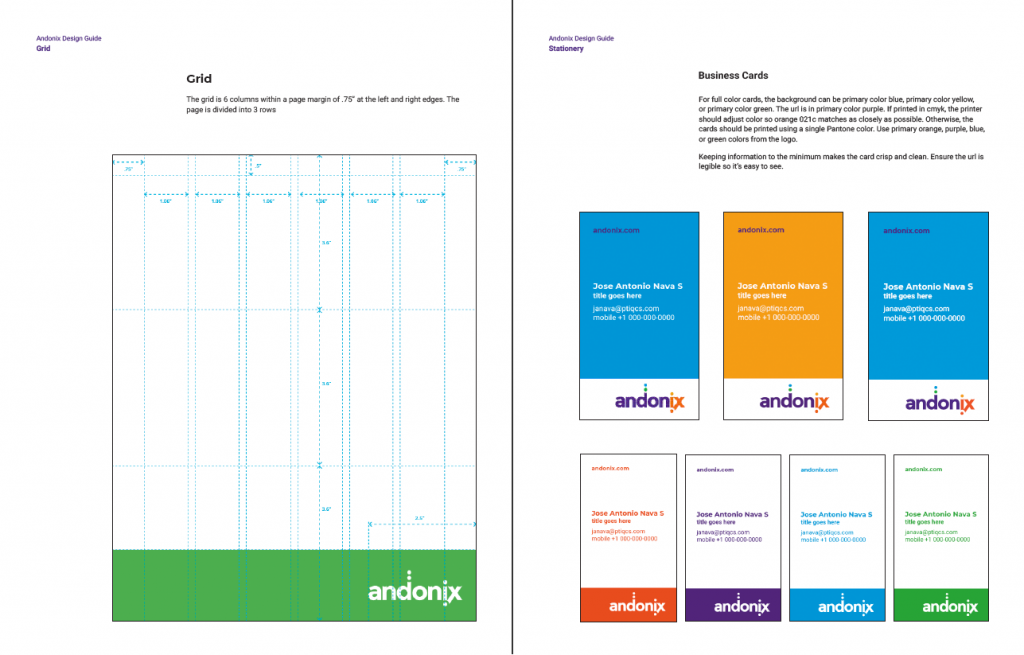 Sample grid and card designs for Andonix
