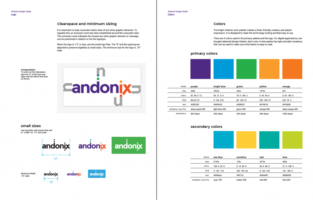 Logo overview and corporate colors for Andonix