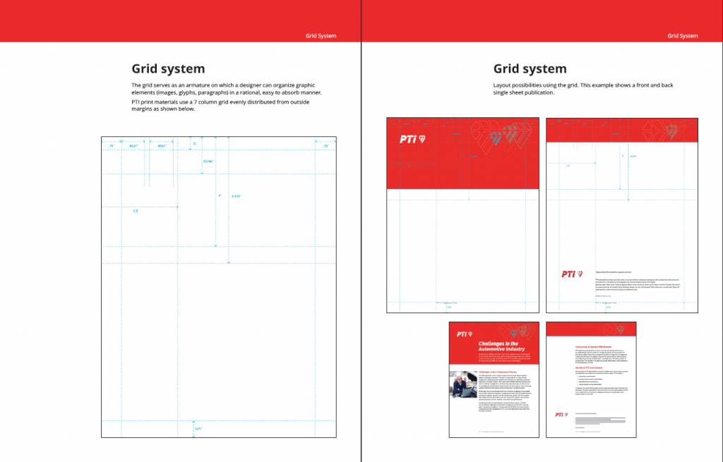 PTI grid system pages from the standards manual