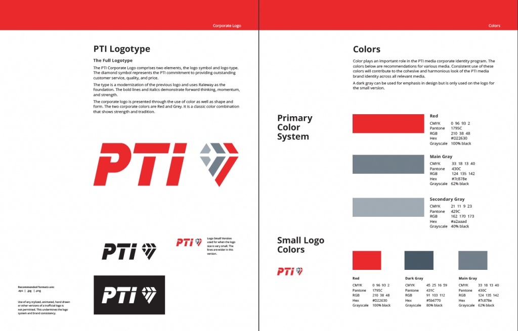 PTI logo and corporate colors pages from the standards manual