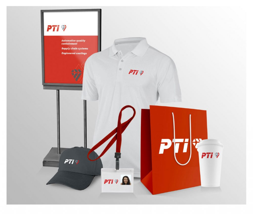 Ideas PTI logo use on cup, hat, shirt, badge, bag, and sign