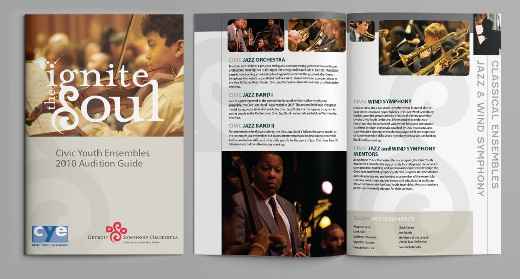 cover and inside spread featuring photos of young people playing instruments and descriptions of jazz bands