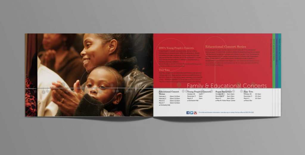 Mom and child photo on left page with program information on the right