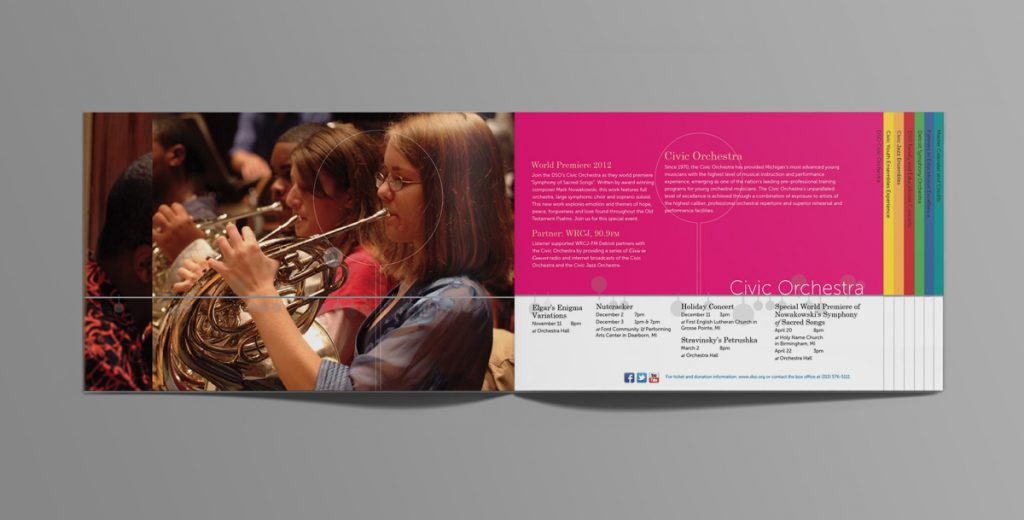 Student photo on left page with program information on the right