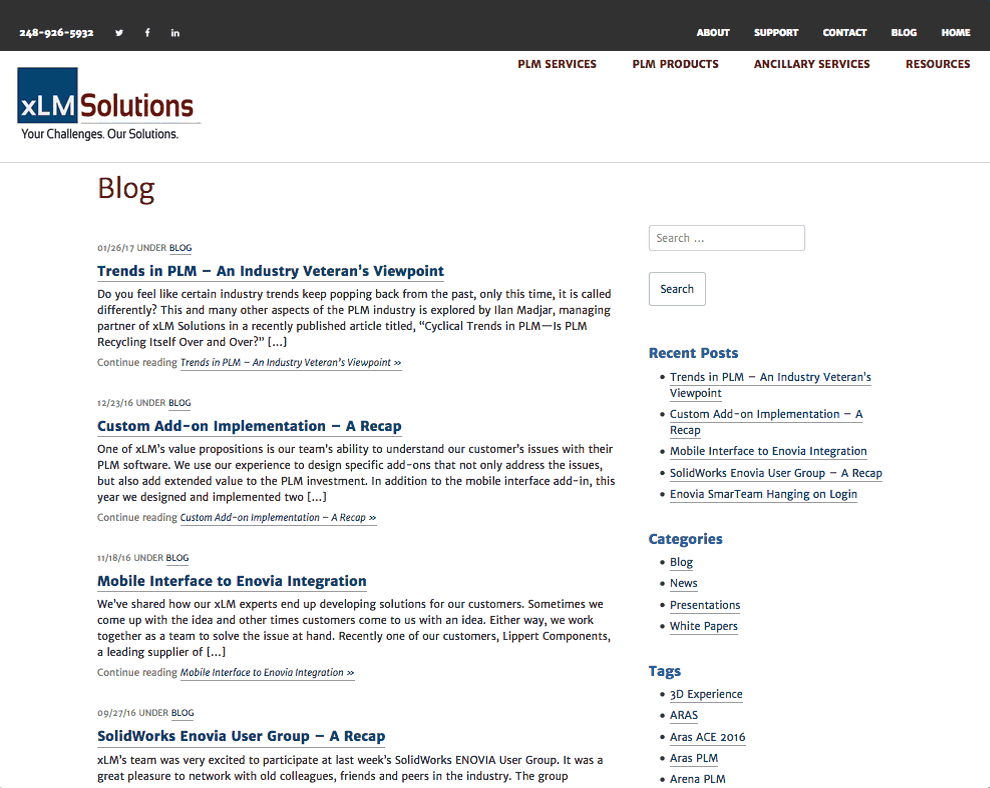 blog list on a web site with sidebar showing categories