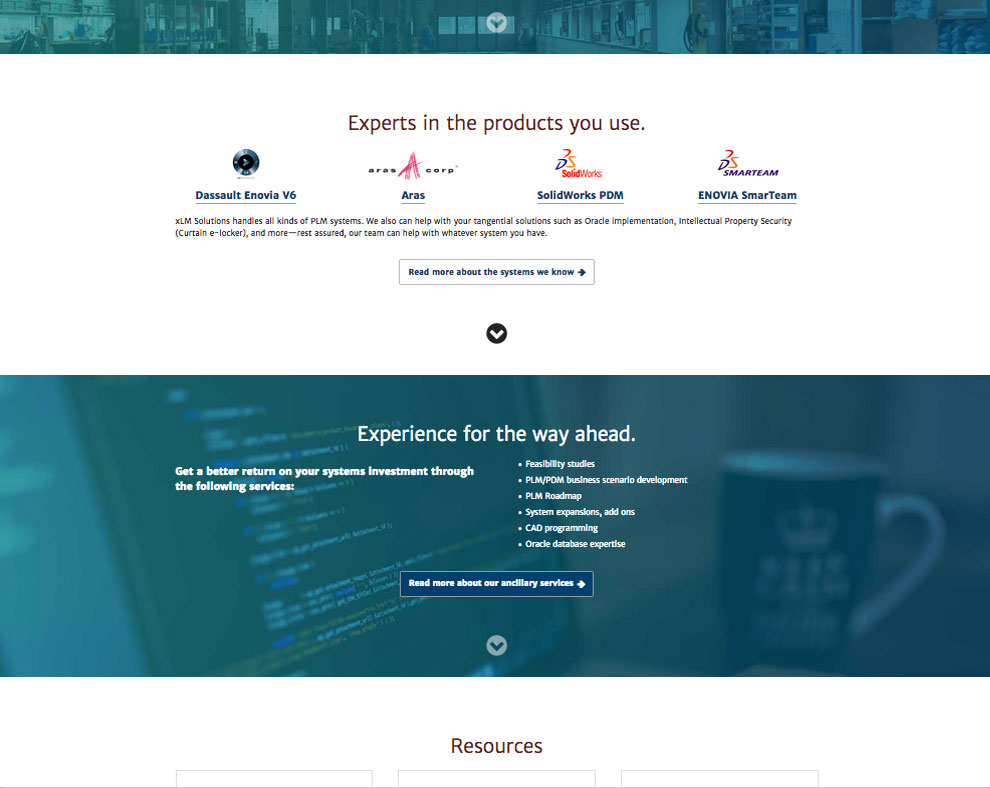 middle of home web page with more info on the company