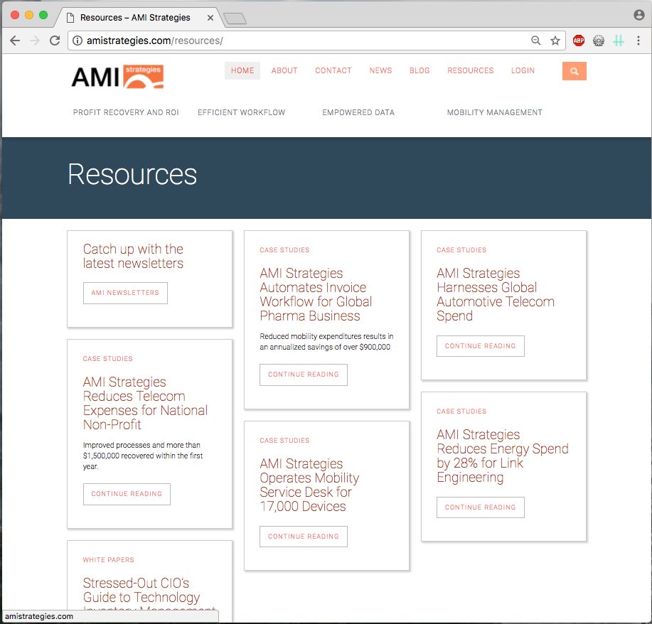 each resource is in a box with type of resource, headline, summary, and link to read