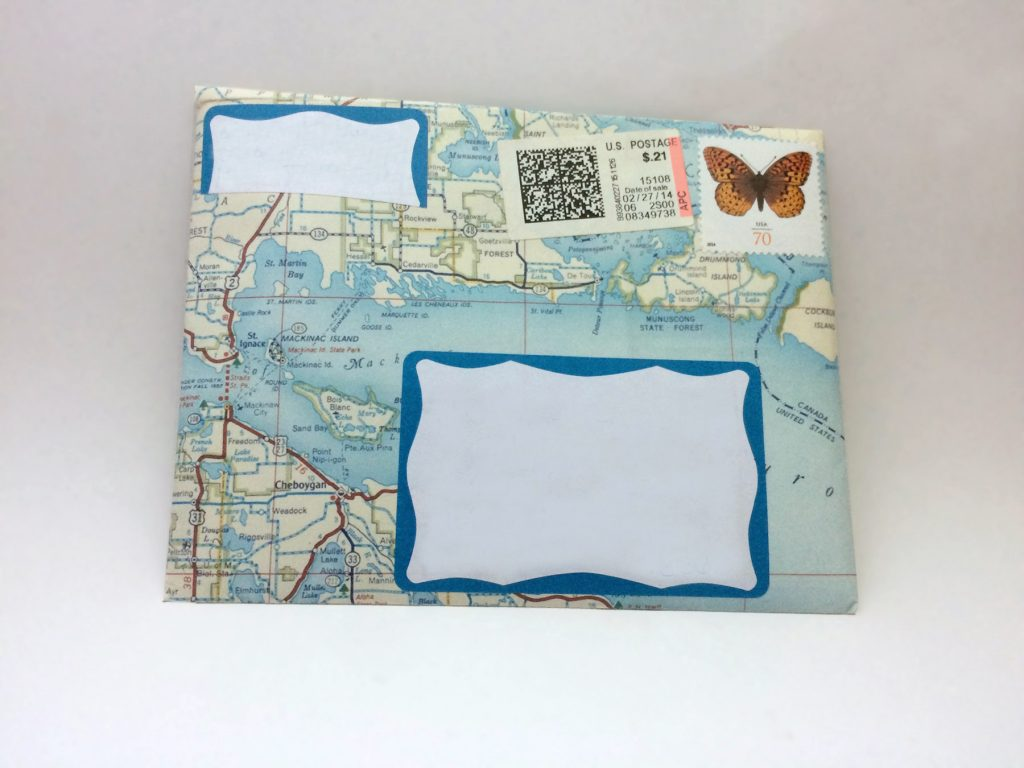 envelope made from a map