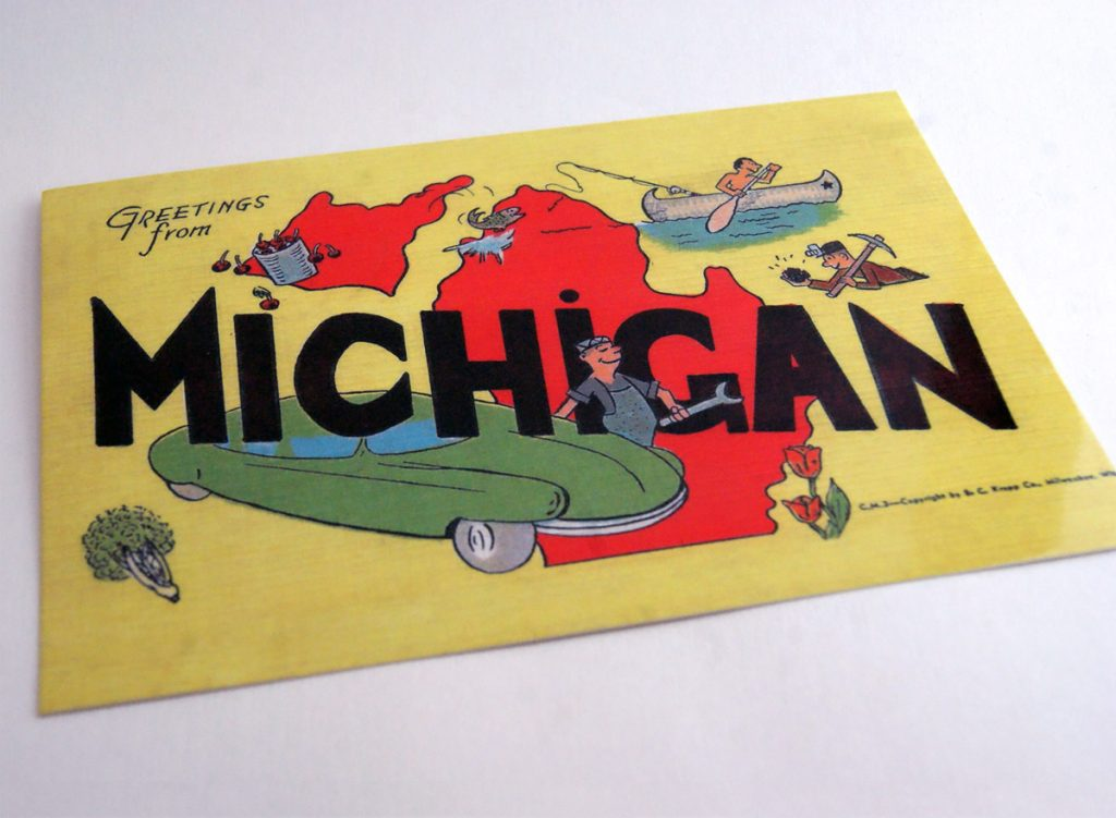 vintage postcard featuring the state of Michigan