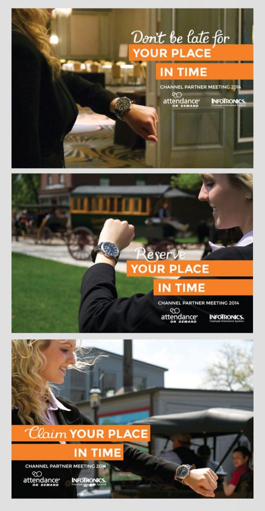 3 postcards that show a young woman looking at her watch, standing in various locations.