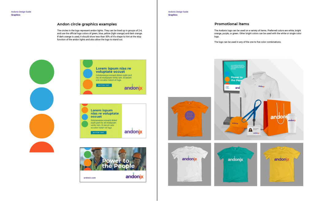 Sample graphics and promotional items for Andonix